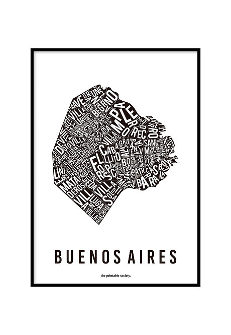BUENOS AIRES TYPOGRAPHIC MAP BLACK, PRINTABLE
