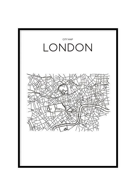 LONDON MINIMALIST MAP WHITE, PRINTABLE