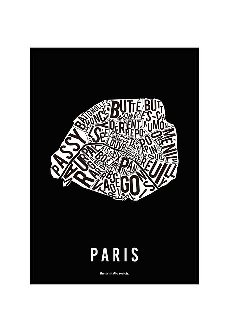 PARIS TYPOGRAPHIC MAP BW, PRINTABLE