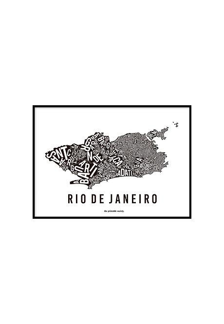 RIO TYPOGRAPHIC MAP BLACK, PRINTABLE
