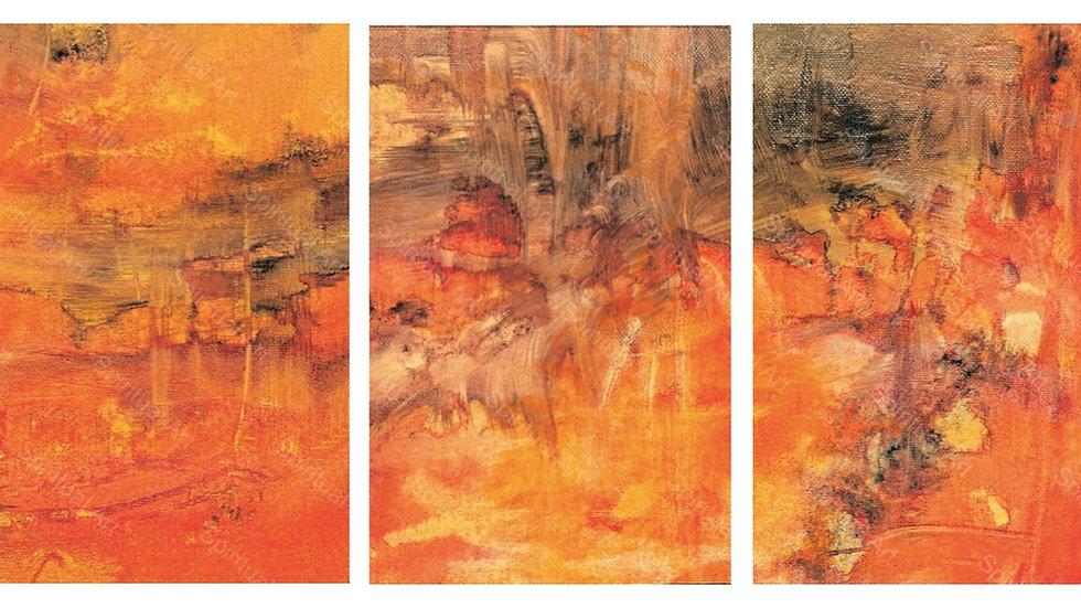 Triptyque Paysage orangé de Chine