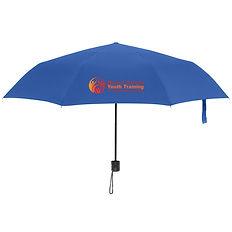 Schirm royal blau mit Logo Mount Carmel.