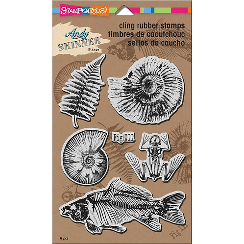 """Stampendous Andy Skinner Cling Stamp 5x7"""" - Fossils"""