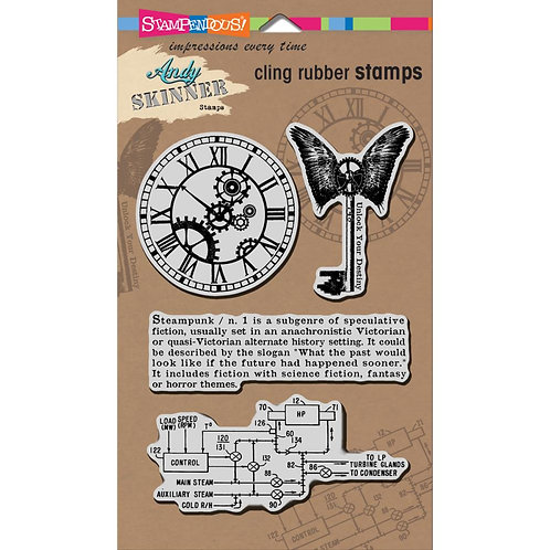 """Stampendous Andy Skinner Cling Stamps 5x7"""" Sheet - Steampunk"""