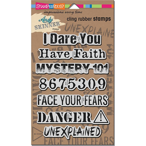 """Stampendous Andy Skinner Cling Stamps 5x7"""" Sheet - Unexplained"""
