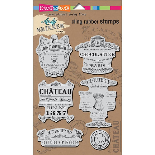 "Stampendous Andy Skinner Cling Stamps 5x7"" Sheet - Shabby Chic"