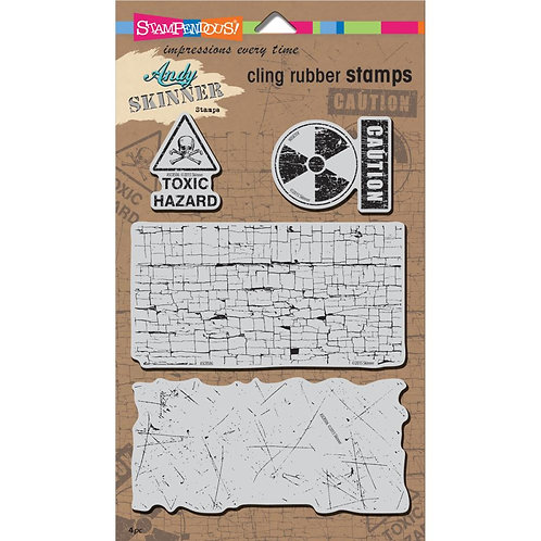 """Stampendous Andy Skinner Cling Stamps 5x7"""" Sheet - Toxic"""