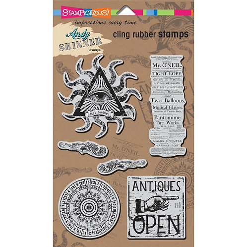 """Stampendous Andy Skinner Cling Stamps 5x7"""" Sheet - Curiosity"""