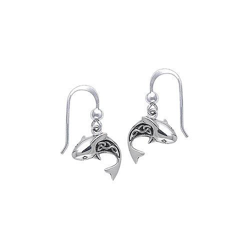 Celtic Shark Sterling Silver Hook Earring