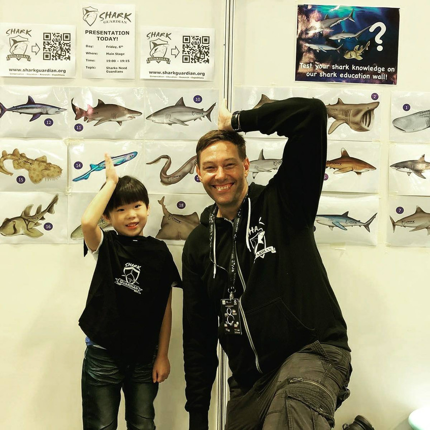 This amazing kid managed to name 17 out of 18 sharks on our shark wall all by himself!