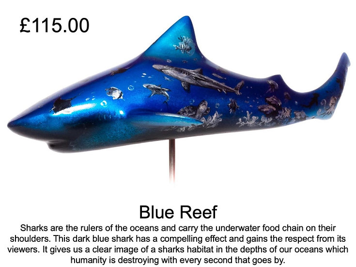 Hand Painted Shark Sculptures by The FinArts