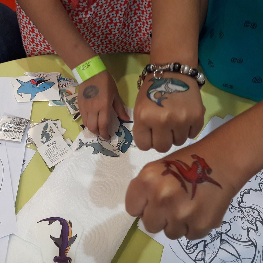 Check out these awesome shark tattoos and coloring sheets from Sharktopia