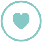 Circle with heart, caring icon