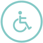 Circle with wheelchair, accessible icon