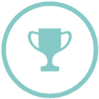 Circle with trophy, reputable and recognized icon