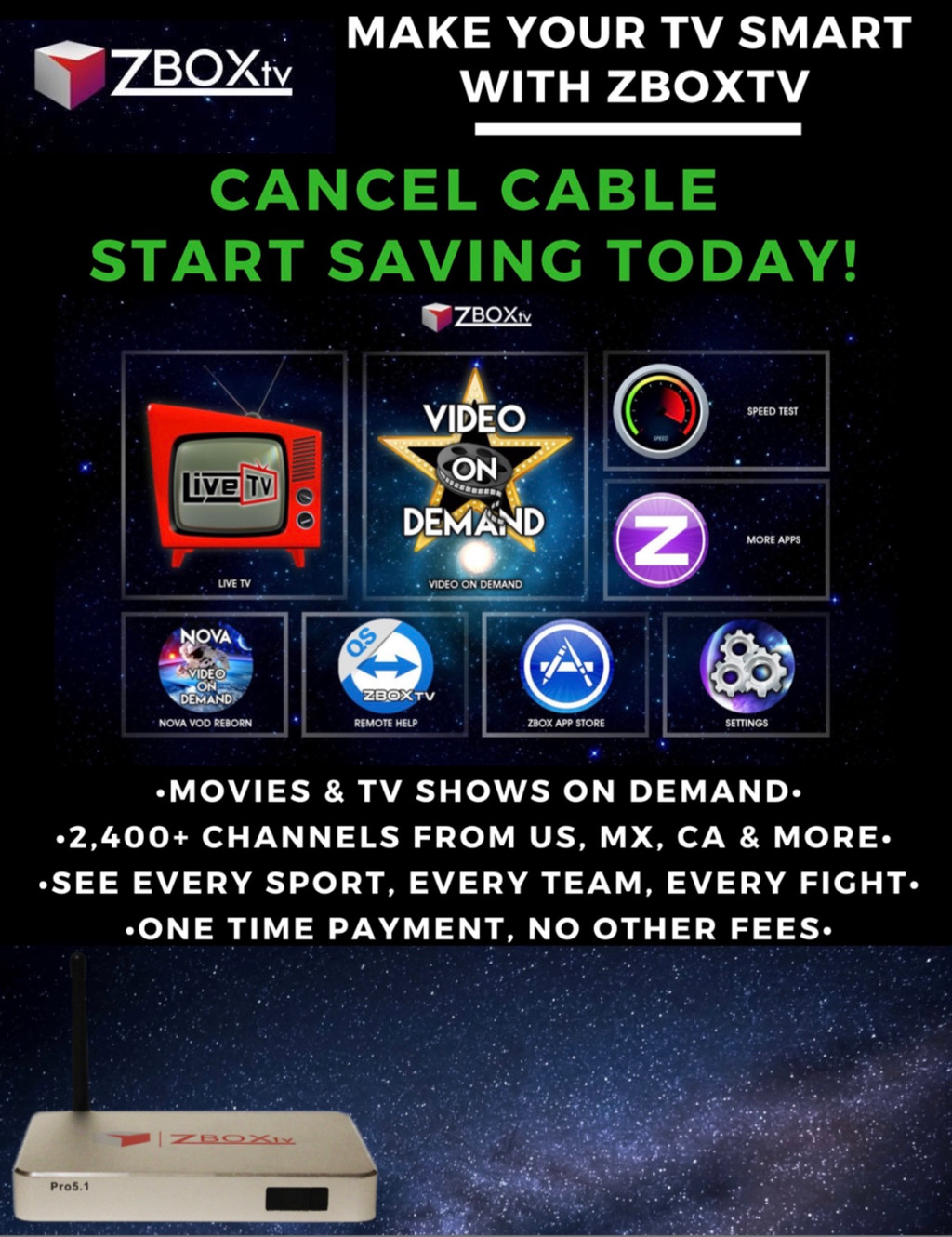 Overpaying for Cable? | Cut the Cord with ZBOXtv | United Sates