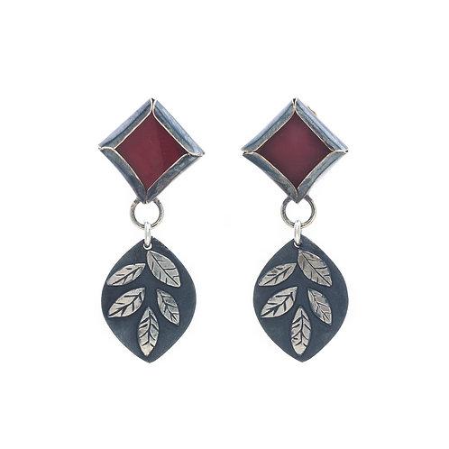 Leaf and Stone Earrings