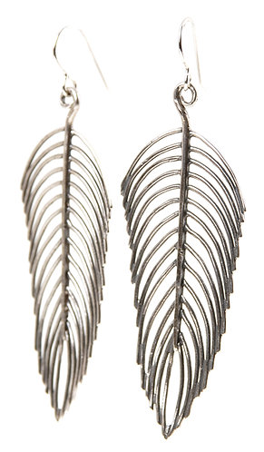 long feather earring sterling silver