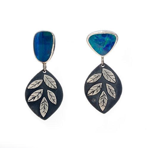Post Style Opal Leaf Earrings