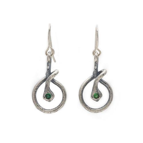 Snake Earrings with Tzavorite