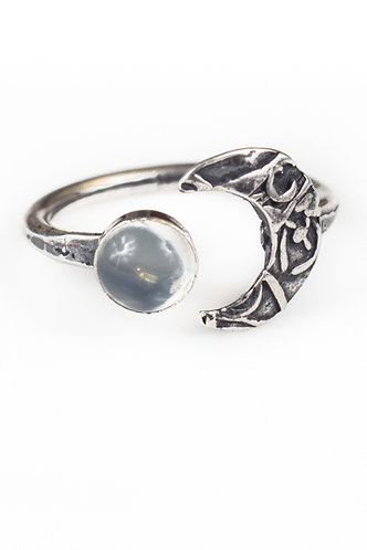 Crescent Moon Ring with gemstone