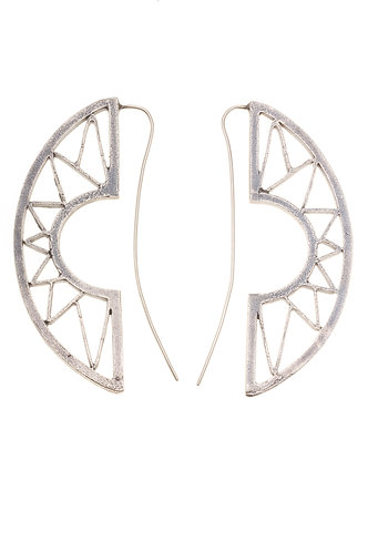 Silver Mountain Earrings | Sun Hoop Earrings | Silver Geometric Earrings | Large Bohemian Statement Earrings | Jivita Jewelry