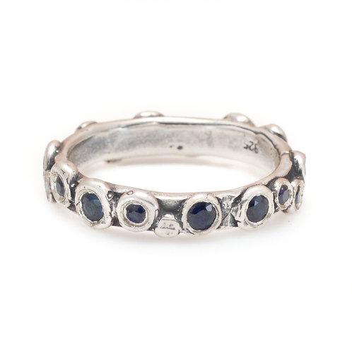 Silver Sapphire Paris Ring
