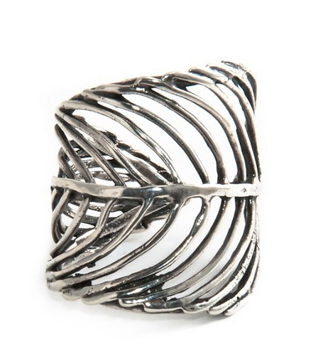 Sterling Silver Feather Ring | Silver Cuff Ring | Adjustable Ring | Wide Silver Ring | Boho Ring by Jivita Jewelry
