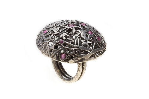 Dome of the Sky Ring with Ruby