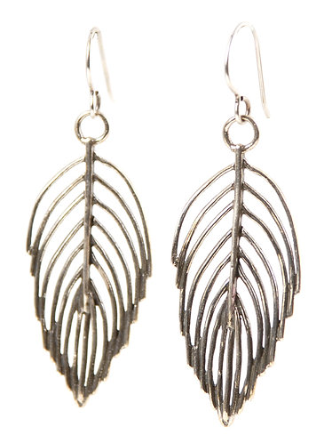 Sterling Silver Feather Earrings | Feather Drop Earrings | Bohemian Feather Earrings by Jivita Jewelry