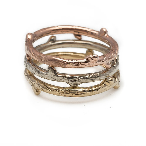 Tri-Colored Gold Branch Ring Stack