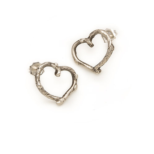 Branch Heart Earrings by Jivita Jewelry | Sterling Silver Heart Earrings | Valentine's Day Gift