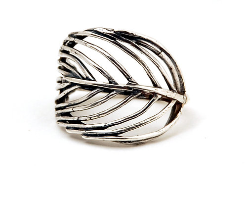 Sterling Silver Feather Ring | Adjustable Ring | Wide Silver Ring | Bohemian Feather Ring