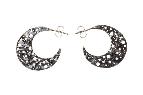Small Crescent Moon Hoops