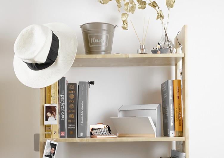 Bamboo Mask Safe on a Pine Bookshelf