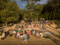 Aerial view of our Luau Booking at a WV Beach!