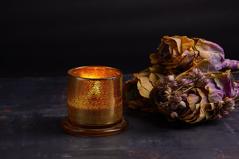 Golden Glass Dome Candle