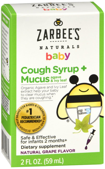 Zarbees Baby Cough Syrup + Mucus (agave & ivy leaf) grape flavor - 2oz