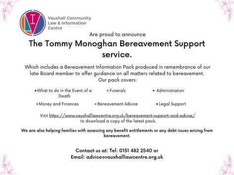 Bereavement Advice Service Launch