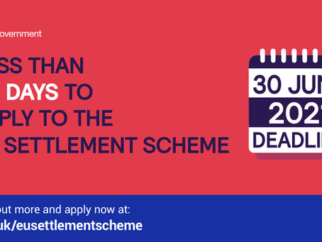 30th June Deadline Approaches for Staying the in UK: EU Citizens