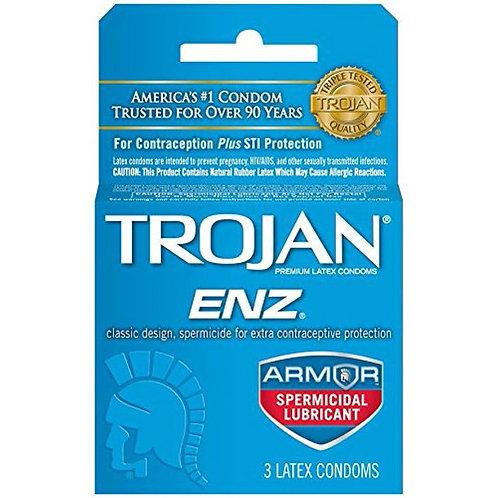 Trojan ENZ Spermicidal Lubricant Condoms - 3 Condoms