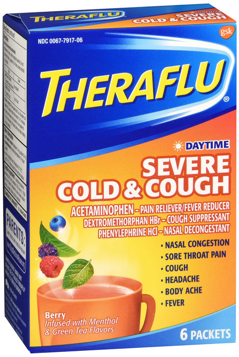 THERA FLU DAY TIME SEVERE COLD & COUGH POWDER - 6 PACKETS