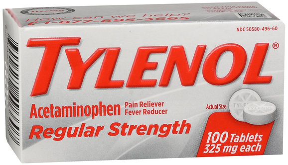 Tylenol Regular Strength (325 mg) - 100 Tablets