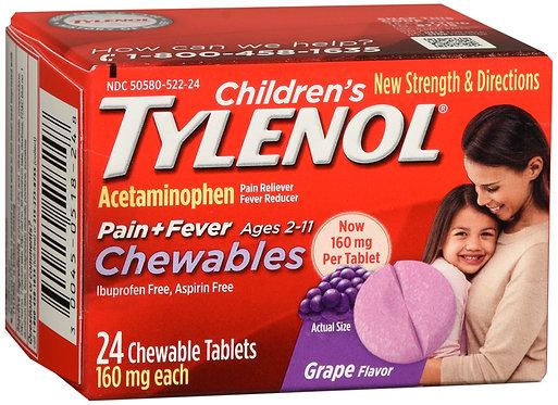 Children's Tylenol Pain + Fever Chewables (Grape Flavor) - 24 Tablets