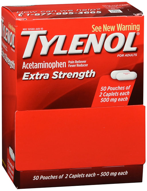 Tylenol Extra Strength 2 Caplet Pouches - 50 Pouches
