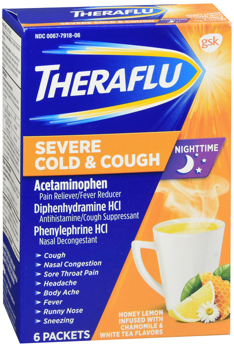 THERA FLU NIGHT TIME SEVERE COLD & COUGH POWDER - 6 PACKETS