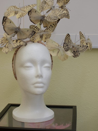 Deanna Dusbabek Photogrpahy butterfly headpiece in the client closet.