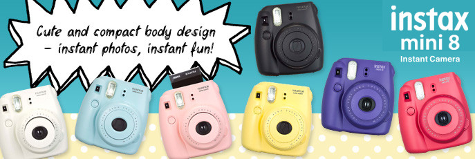 Choose from a rainbow of colors from Fuji's new instant cameras