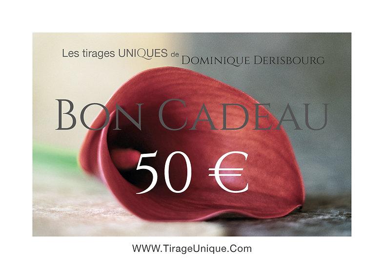 Bon cadeaux valeur 50 €