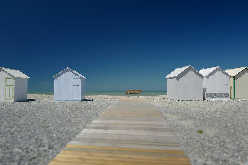 Le banc et la plage - Format 40x50cm